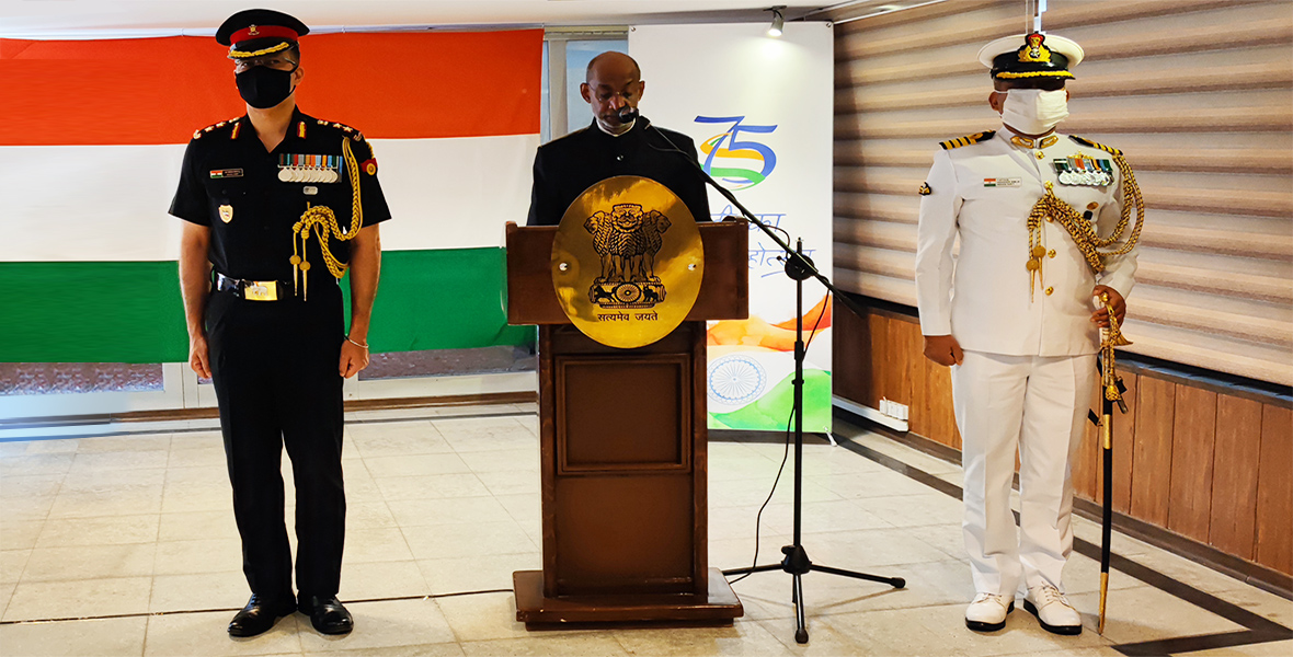 Ambassador Gaddam Dharmendra hoisted the national flag at the Embassy premises and read out President's speech on the occasion of 75th Independence Day of India's celebrations