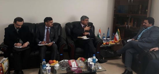 Ambassador Saurabh Kumar meeting Deputy Justice Minister for Human Rights and Civil Liberties Mahmoud Abbasi in Tehran on January 14, 2018
